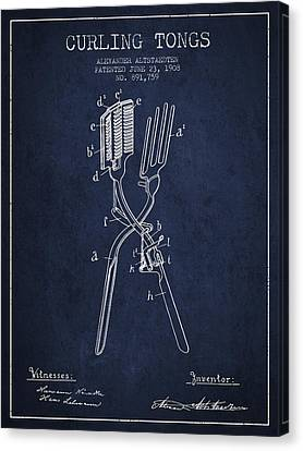 Curling Tongs Patent From 1908 - Navy Blue Canvas Print by Aged Pixel