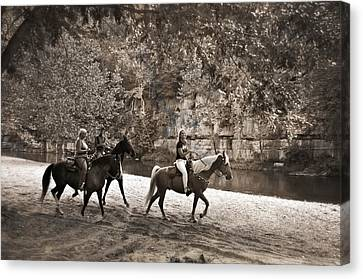 Current River Horses Canvas Print by Marty Koch