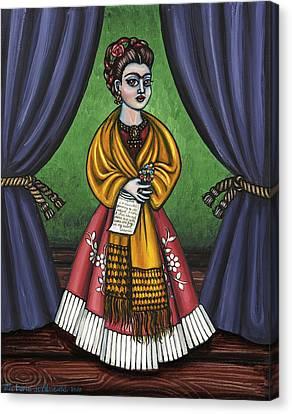 Curtains For Frida Canvas Print by Victoria De Almeida