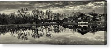 Cushwa Basin C And O Canal Black And White Canvas Print by Joshua House