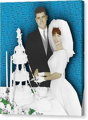Custom Portrait Wedding Parents Anniversary 2 Canvas Print by Tony Rubino
