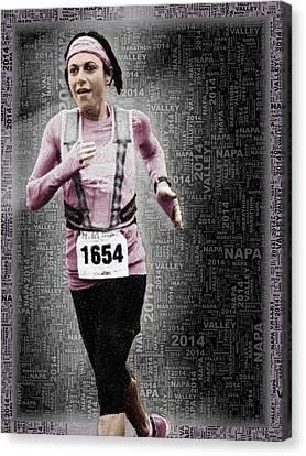 Custom Portrait Woman Runs Marathon Canvas Print by Tony Rubino