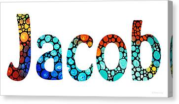 Customized Baby Kids Adults Pets Names - Jacob 2 Name Canvas Print by Sharon Cummings
