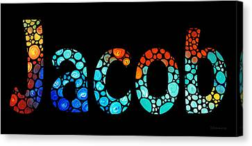 Customized Baby Kids Adults Pets Names - Jacob 3 Name Canvas Print by Sharon Cummings
