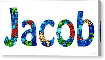 Customized Baby Kids Adults Pets Names - Jacob Name Canvas Print by Sharon Cummings