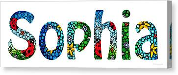 Customized Baby Kids Adults Pets Names - Sophia Name Canvas Print by Sharon Cummings