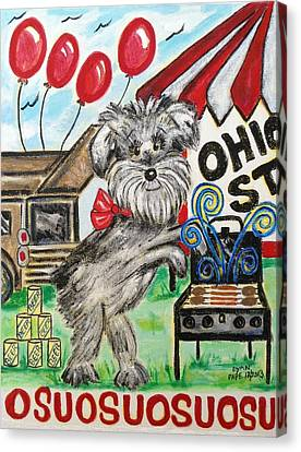 Osu Tailgating Dog Canvas Print by Diane Pape