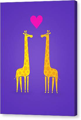 Cute Cartoon Giraffe Couple In Love Purple Edition Canvas Print by Philipp Rietz