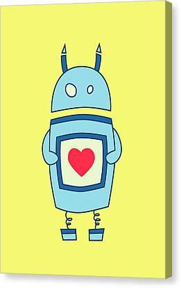 Cute Clumsy Robot With Heart Canvas Print by Boriana Giormova
