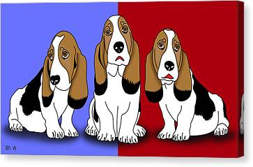 Cute Dogs 2 Canvas Print by Mark Ashkenazi