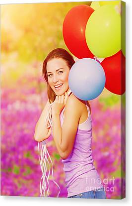 Cute Female With Balloons Canvas Print by Anna Omelchenko