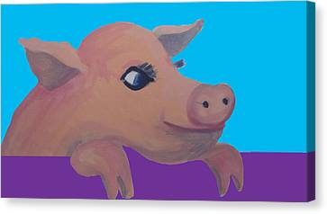 Cute Pig 1 Canvas Print by Cherie Sexsmith