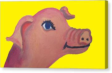 Cute Pig On Yellow Canvas Print by Cherie Sexsmith