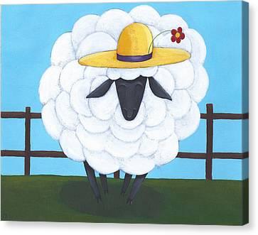 Cute Sheep Nursery Art Canvas Print by Christy Beckwith
