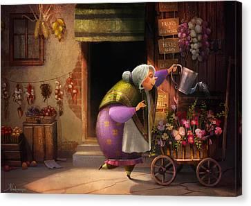 Cute Village Flower Shop Canvas Print by Kristina Vardazaryan