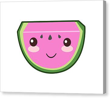 Cute Watermelon Illustration Canvas Print by Pati Photography