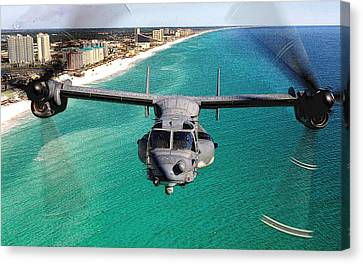 Cv 22 Osprey 8th Special Operations Over Emerald Coast Florida Canvas Print by Senior Airman Julianne Showalter - L Brown