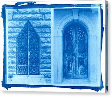 Cyanotype Crypt Doors Canvas Print by Jane Linders