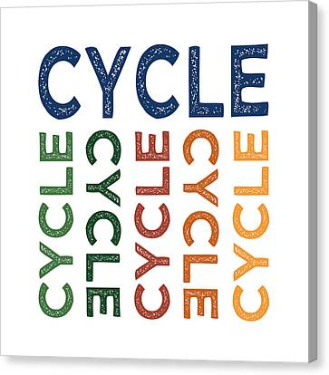 Cycle Cute Colorful Canvas Print by Flo Karp