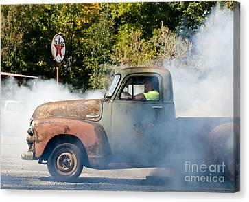 Cyclemos Rat Rod Burnout Pit  Canvas Print by Wilma  Birdwell