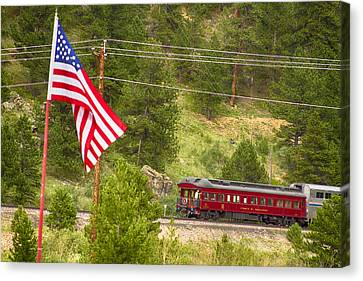 Cyrus K. Holliday Rail Car And Usa Flag Canvas Print by James BO  Insogna