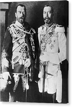Czar Nicholas And King George V Canvas Print by Underwood Archives