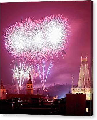Czech Republic, Prague - New Years Canvas Print by Panoramic Images