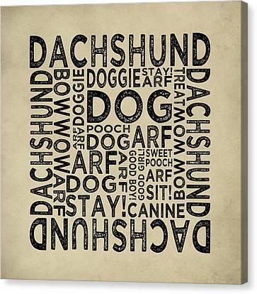 Dachshund Typography Canvas Print by Flo Karp