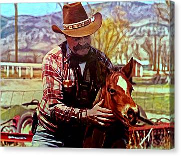 Dad And Horse Canvas Print by Michael Pickett