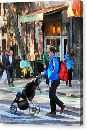 Daddy Pushing Stroller Greenwich Village Canvas Print by Susan Savad