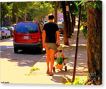 Daddy's Little Buddy Perfect Day Wagon Ride Montreal Neighborhood City Scene Art Carole Spandau Canvas Print by Carole Spandau
