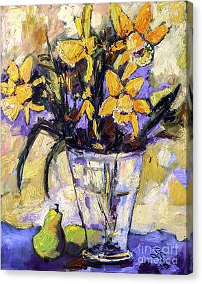 Daffodils And Pears Still Life Canvas Print by Ginette Callaway