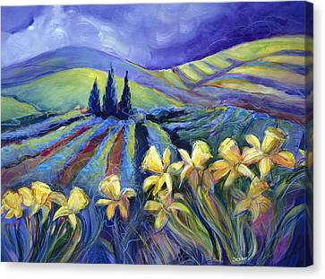 Daffodils And Stormclouds Canvas Print by Jen Norton