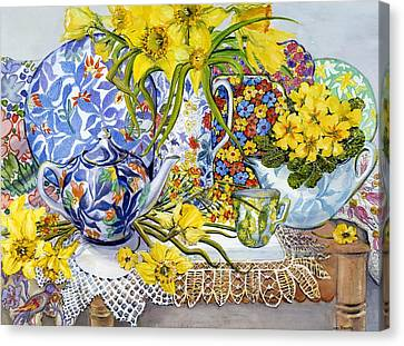 Daffodils Antique Jugs Plates Textiles And Lace Canvas Print by Joan Thewsey