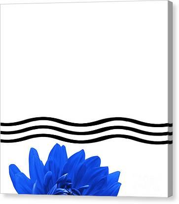 Dahlia Flower And Wavy Lines Triptych Canvas 1 - Blue Canvas Print by Natalie Kinnear