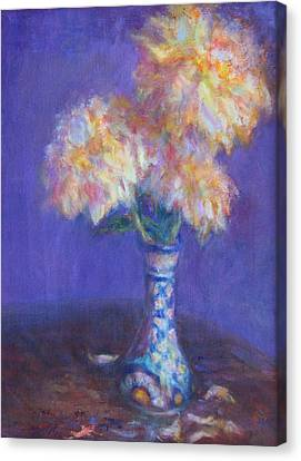 Dahlias In Mexican Vase - Original Oil Painting - Still Life - Flowers Canvas Print by Quin Sweetman