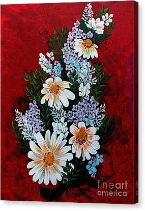 Daisies Lilacs And Forget Me Nots Canvas Print by Barbara Griffin