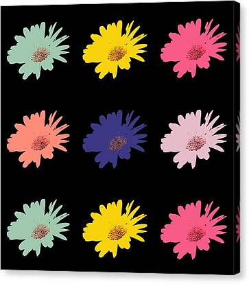 Daisy Flower In Pop Art Canvas Print by Toppart Sweden