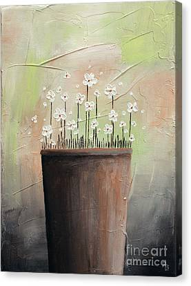 Daisy In Pot2 Canvas Print by Home Art