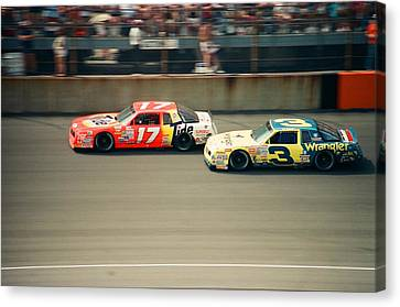 Dale Earnhardt And Darrell Waltrip Race At Daytona Canvas Print by Retro Images Archive