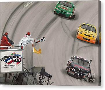 Dale Earnhardt Wins Daytona 500-checkered Flag Canvas Print by Paul Kuras
