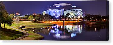 Dallas Cowboys Stadium At Night Att Arlington Texas Panoramic Photo Canvas Print by Jon Holiday