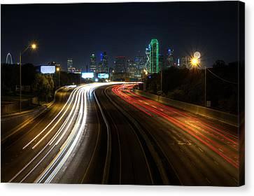 Dallas Night Light Canvas Print by Jonathan Davison