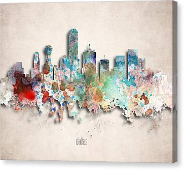 Dallas Painted City Skyline Canvas Print by World Art Prints And Designs