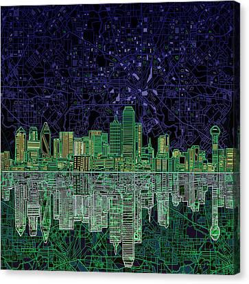 Dallas Skyline Abstract 4 Canvas Print by Bekim Art