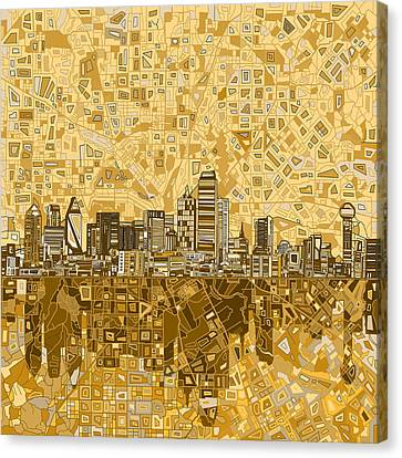 Dallas Skyline Abstract 6 Canvas Print by Bekim Art