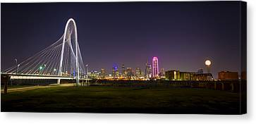 Dallas Skyline And Margaret Hunt Hill Bridge Canvas Print by David Morefield
