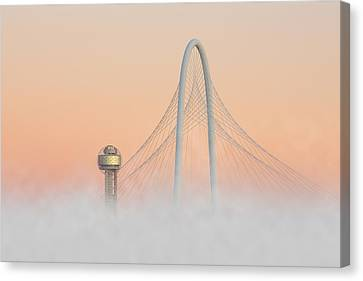 Dallas Skyline Images - Fog In The City Canvas Print by Rob Greebon