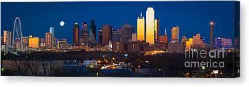 Dallas Skyline Panorama Canvas Print by Inge Johnsson