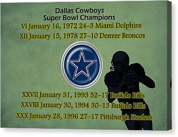 Dallas Texas Cowboys Super Bowl Wins Canvas Print by Movie Poster Prints